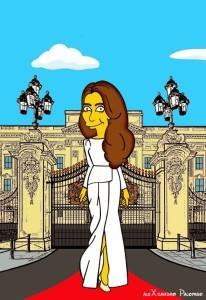 Princess Kate Middleton  Duchess of Cambridge and Queen Elizabeth Simpsonized The Simpsons Buckingham Palace  Art Cartoon Illustration Style Best Dresses Look Fashion Royal Icon Artist aleXsandro Palombo Humor Chic Web10