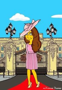 Princess Kate Middleton  Duchess of Cambridge and Queen Elizabeth Simpsonized The Simpsons Buckingham Palace  Art Cartoon Illustration Style Best Dresses Look Fashion Royal Icon Artist aleXsandro Palombo Humor Chic Web11