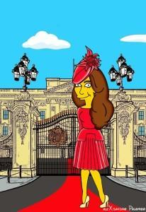 Princess Kate Middleton  Duchess of Cambridge and Queen Elizabeth Simpsonized The Simpsons Buckingham Palace  Art Cartoon Illustration Style Best Dresses Look Fashion Royal Icon Artist aleXsandro Palombo Humor Chic Web12
