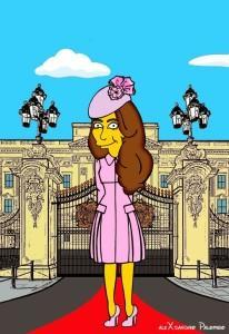 Princess Kate Middleton  Duchess of Cambridge and Queen Elizabeth Simpsonized The Simpsons Buckingham Palace  Art Cartoon Illustration Style Best Dresses Look Fashion Royal Icon Artist aleXsandro Palombo Humor Chic Web13