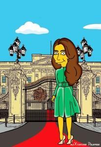 Princess Kate Middleton  Duchess of Cambridge and Queen Elizabeth Simpsonized The Simpsons Buckingham Palace  Art Cartoon Illustration Style Best Dresses Look Fashion Royal Icon Artist aleXsandro Palombo Humor Chic Web14
