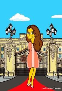 Princess Kate Middleton  Duchess of Cambridge and Queen Elizabeth Simpsonized The Simpsons Buckingham Palace  Art Cartoon Illustration Style Best Dresses Look Fashion Royal Icon Artist aleXsandro Palombo Humor Chic Web16