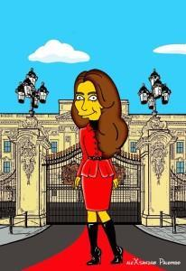 Princess Kate Middleton  Duchess of Cambridge and Queen Elizabeth Simpsonized The Simpsons Buckingham Palace  Art Cartoon Illustration Style Best Dresses Look Fashion Royal Icon Artist aleXsandro Palombo Humor Chic Web17