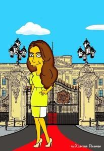 Princess Kate Middleton  Duchess of Cambridge and Queen Elizabeth Simpsonized The Simpsons Buckingham Palace  Art Cartoon Illustration Style Best Dresses Look Fashion Royal Icon Artist aleXsandro Palombo Humor Chic Web19