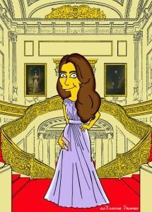 Princess Kate Middleton  Duchess of Cambridge and Queen Elizabeth Simpsonized The Simpsons Buckingham Palace  Art Cartoon Illustration Style Best Dresses Look Fashion Royal Icon Artist aleXsandro Palombo Humor Chic Web27
