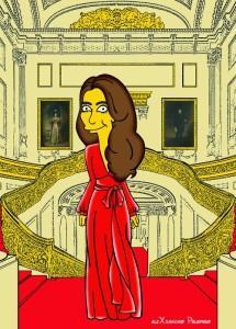 Princess Kate Middleton  Duchess of Cambridge and Queen Elizabeth Simpsonized The Simpsons Buckingham Palace  Art Cartoon Illustration Style Best Dresses Look Fashion Royal Icon Artist aleXsandro Palombo Humor Chic Web28