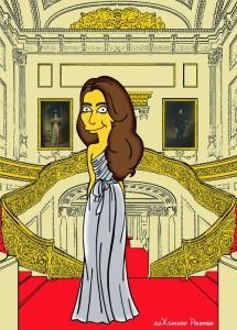 Princess Kate Middleton  Duchess of Cambridge and Queen Elizabeth Simpsonized The Simpsons Buckingham Palace  Art Cartoon Illustration Style Best Dresses Look Fashion Royal Icon Artist aleXsandro Palombo Humor Chic Web29
