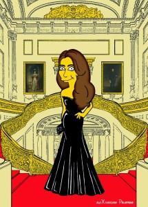 Princess Kate Middleton  Duchess of Cambridge and Queen Elizabeth Simpsonized The Simpsons Buckingham Palace  Art Cartoon Illustration Style Best Dresses Look Fashion Royal Icon Artist aleXsandro Palombo Humor Chic Web30