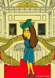 Princess Kate Middleton  Duchess of Cambridge and Queen Elizabeth Simpsonized The Simpsons Buckingham Palace  Art Cartoon Illustration Style Best Dresses Look Fashion Royal Icon Artist aleXsandro Palombo Humor Chic Web32