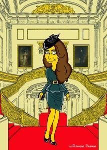 Princess Kate Middleton  Duchess of Cambridge and Queen Elizabeth Simpsonized The Simpsons Buckingham Palace  Art Cartoon Illustration Style Best Dresses Look Fashion Royal Icon Artist aleXsandro Palombo Humor Chic Web38