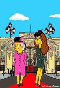 Princess Kate Middleton  Duchess of Cambridge and Queen Elizabeth Simpsonized The Simpsons Buckingham Palace  Art Cartoon Illustration Style Best Dresses Look Fashion Royal Icon Artist aleXsandro Palombo Humor Chic Web6