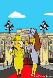 Princess Kate Middleton  Duchess of Cambridge and Queen Elizabeth Simpsonized The Simpsons Buckingham Palace  Art Cartoon Illustration Style Best Dresses Look Fashion Royal Icon Artist aleXsandro Palombo Humor Chic Web6 a