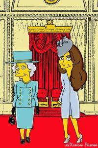 Princess Kate Middleton  Duchess of Cambridge and Queen Elizabeth Simpsonized The Simpsons Buckingham Palace  Art Cartoon Illustration Style Best Dresses Look Fashion Royal Icon Artist aleXsandro Palombo Humor Chic Web9