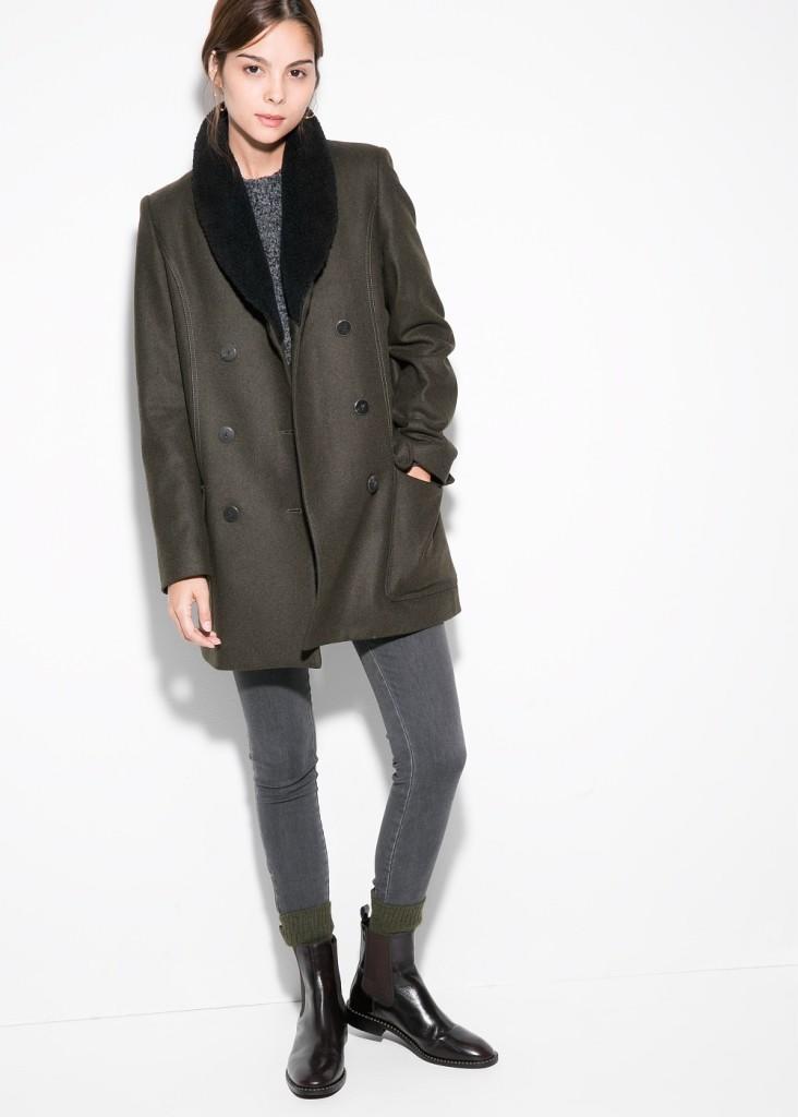 Пальто с меховым воротником, 7499 руб.