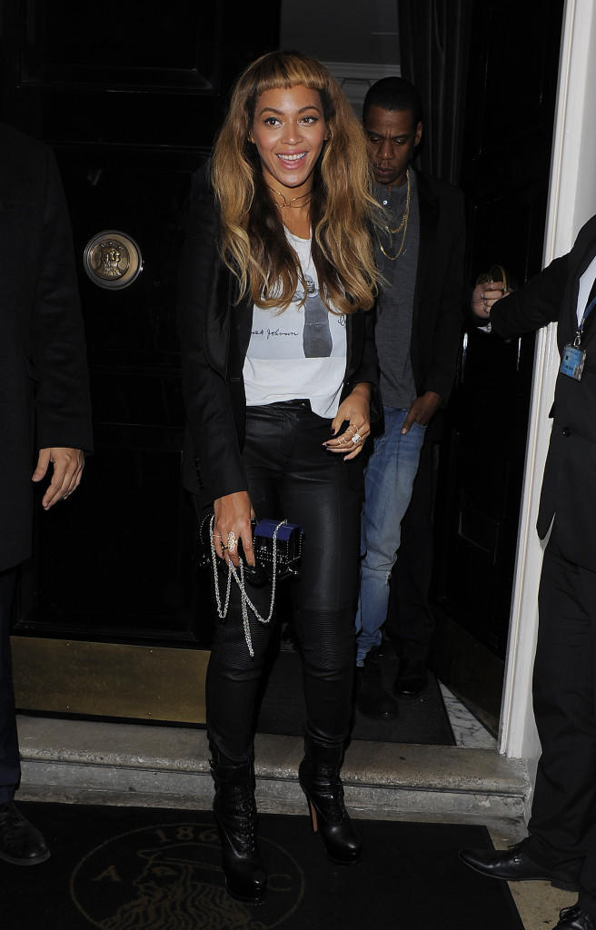Beyonce and Jay Z enjoy a date night out at The Arts Club in London.