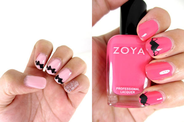 Valentines-Day-Nail-Art-Pink-Bows-and-Hearts