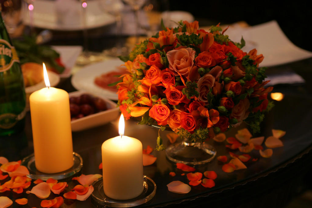 Romantic dinner table setting