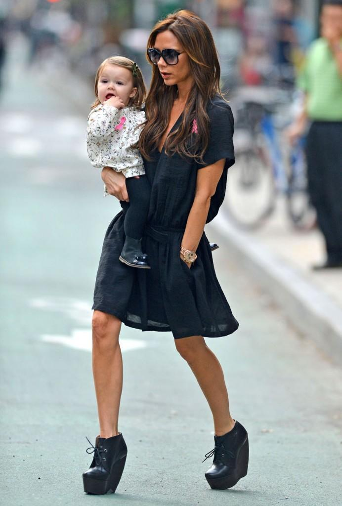 Victoria Beckham and baby Harper Beckham spend some quality mother/daughter time together as they run a few errands in New York City