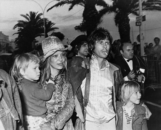 1971CANNES, FRANC Keith Richard, a member of the Rolling Stones, escorts his partner, actress Anita Pallenberg, and their two children