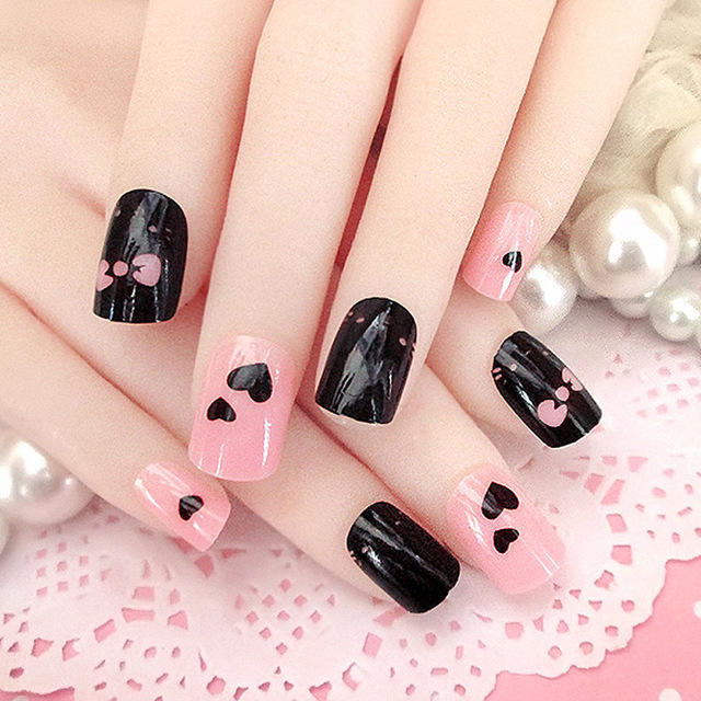 2016-Hot-Sale-lovely-Heart-shape-Nails-Art-Manicure-Finished-24-Piece-pink-and-black-False.jpg_640x640