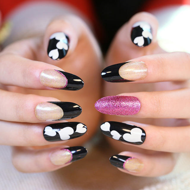 2016-New-High-Black-and-white-Quality-Oval-head-nail-tips-Manicure-French-printing-fake-nail.jpg_640x640