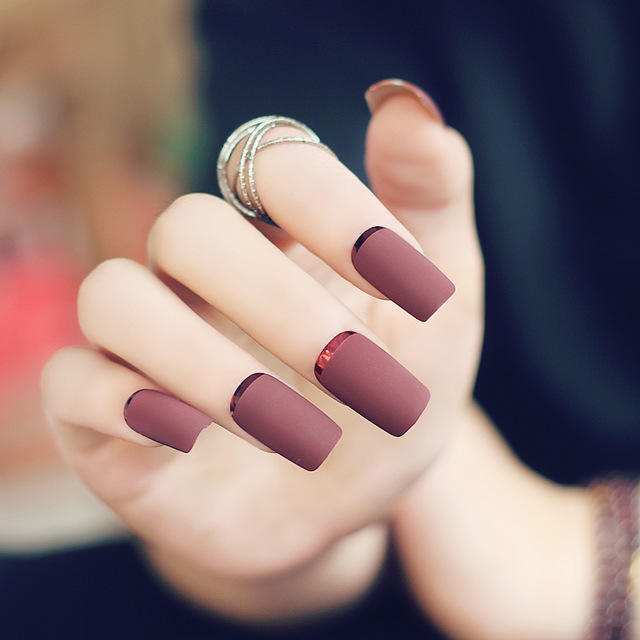 2016-New-High-Quality-Brown-Red-Matte-Metal-Manicure-French-Long-Design-Full-Cover-False-Nails.jpg_640x640