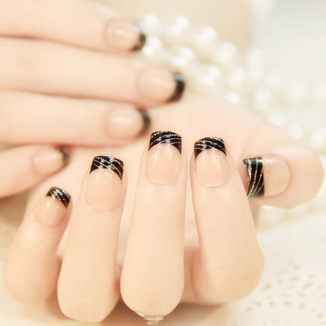 24pcs-set-Classic-French-black-Silver-line-False-Nails-square-head-short-Nail-Tips-natural-French.jpg_640x640