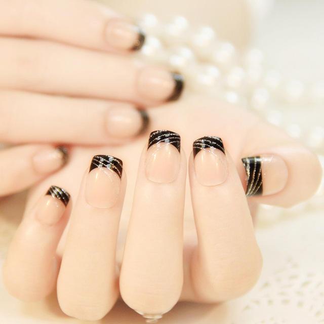 24pcs-set-Classic-French-black-Silver-line-False-Nails-square-head-short-Nail-Tips-natural-French.jpg_640x640