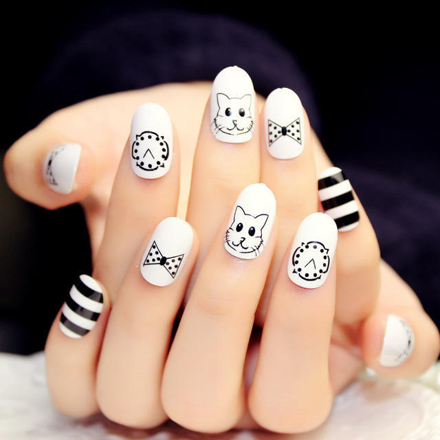 Cat-and-clocl-pattern-fake-nails-japanese-Cute-cartoon-pattern-false-nails-french-pure-color-children.jpg_640x640