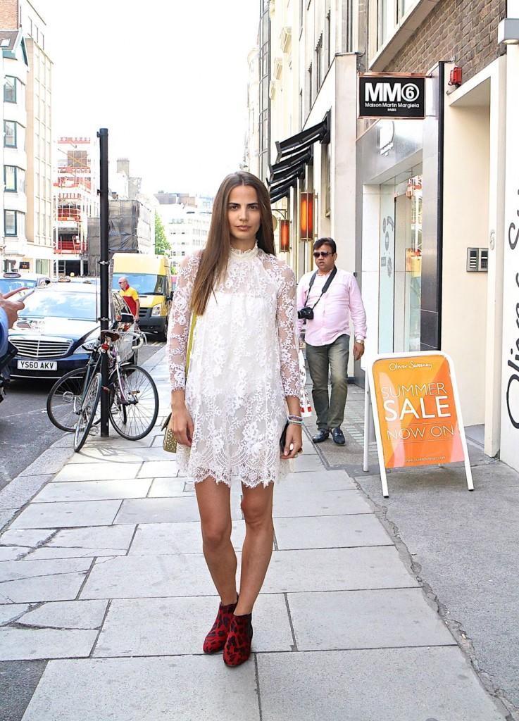London-street-style-Helena-Sopar-lace-dress-get-the-model-look