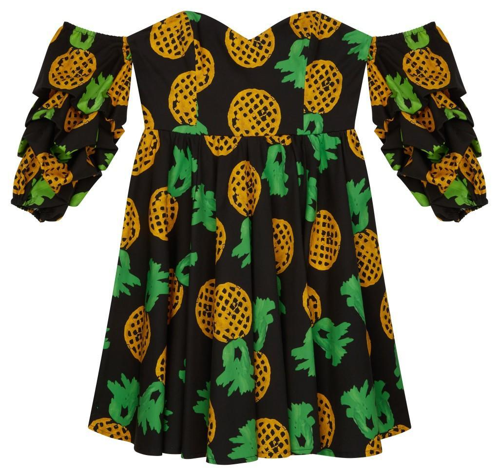 ASOS Made In Kenya x Julie Adenuga Off Shoulder Dress In Pineapple Print...